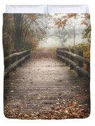 Foggy Lake Park Footbridge Duvet Cover