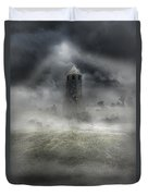Foggy Landscape With Dark Tower Duvet Cover