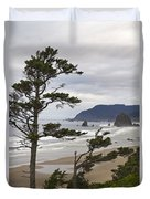 Foggy Morning At Tolovana Beach Oregon 2 Duvet Cover