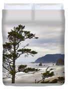 Foggy Morning At Tolovana Beach Oregon Duvet Cover