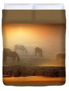 Foggy Morning Pasture Time Duvet Cover
