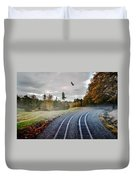Foggy Nature Along The Train Tracks Duvet Cover