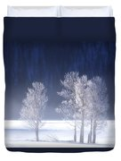 Foggy Sunrise In Yellowstone National Park Duvet Cover