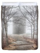 Foggy View Of The Summit Of Mount Battie Duvet Cover