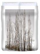 Foggy Winter Tree Fence 13271 Duvet Cover