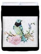Folk Art Bird Embroidery Illustration Duvet Cover