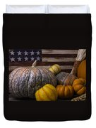 Folk Art Flag And Pumpkins Duvet Cover