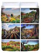 Folk Art Seasonal Seasons Sampler Greetings Rural Country Farm Collection Farms Landscape Scene Duvet Cover