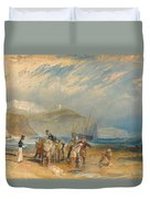 Folkestone Harbour And Coast To Dover Duvet Cover
