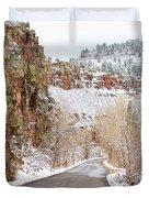 Follow The Red Rock Ridge Winter Road  Duvet Cover