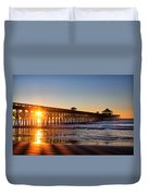 Folly Beach Pier At Sunrise Duvet Cover