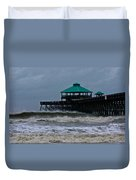 Folly Beach Pier During Sandy Duvet Cover