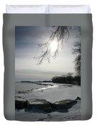 Foot Prints Along The Shore Duvet Cover