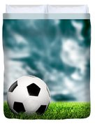 Football Soccer A Leather Ball On Grass Duvet Cover