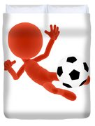 Football Soccer Shooting Jumping Pose Duvet Cover