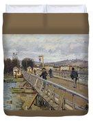 Footbridge At Argenteuil Duvet Cover