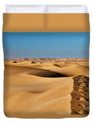 Footprints And 4x4 Offroad Car In Landscape Of Endless Dunes In Sand Desert  Duvet Cover