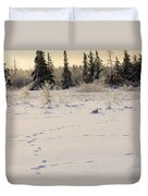 Footprints In Fresh Snow Duvet Cover