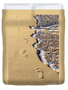 Footprints On Beach Duvet Cover