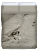 Footprints On The Beach Duvet Cover