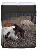 Foraging Horses Duvet Cover