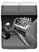 Ford Coupe Hot Rod Engine In Black And White Duvet Cover