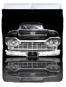 Ford F100 Truck Reflection On Black Duvet Cover
