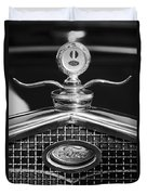 Ford Winged Hood Ornament Black And White Duvet Cover