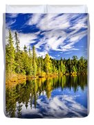 Forest And Sky Reflecting In Lake Duvet Cover