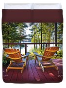 Forest Cottage Deck And Chairs Duvet Cover