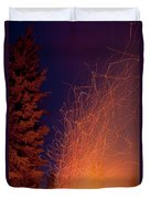 Forest Fire Danger Hot Spark Trails From Campfire Duvet Cover