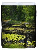 Forest Lake With Lily Pads Duvet Cover