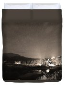 Forest Of Stars Above The Chapel On The Rock Sepia Duvet Cover