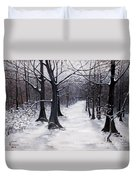 Forest Path In Winter Duvet Cover