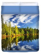 Forest Reflecting In Lake Duvet Cover
