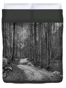 Forest Trail Bw Duvet Cover