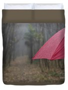 Forest With A Red Umbrella Duvet Cover