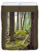 Forest With Moss-covered Rocks Along John's Lake Trail In Glacier Np-mt Duvet Cover