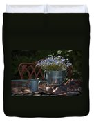 Forget-me-nots And Small Watering Can  Duvet Cover
