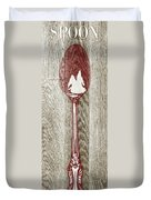 Fork And Spoon On Wood II Duvet Cover