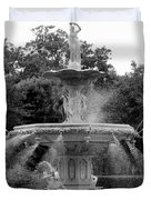 Forsyth Park Fountain - Black And White 2x3 Duvet Cover