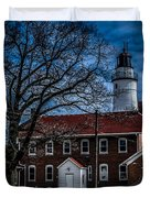 Fort Gratiot Lighthouse And Buildings With Clouds Duvet Cover