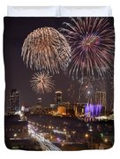 Fort Worth Skyline At Night Fireworks Color Evening Ft. Worth Texas Duvet Cover