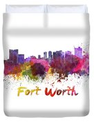 Fort Worth Skyline In Watercolor Duvet Cover