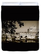 Fortress And Bridge In Sepia Duvet Cover