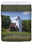 Forty Mile Point Lighthouse In Michigan Number 450 Duvet Cover