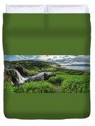 Fossa Waterfall In Hvalfjordur, Iceland Duvet Cover