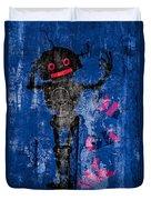 Foundation Number 102 Robot Graffiti  Duvet Cover by Bob Orsillo
