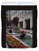 Fountain At Rockefeller Center Nyc Duvet Cover