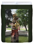 Fountain Cloister St. Marienstern - Germany Duvet Cover